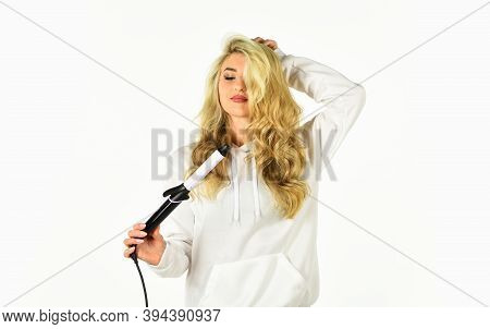 Love Is In The Hair. Fashion And Beauty. Stylist Curling Hairdo. Fashion Model Woman. Beautiful Blon