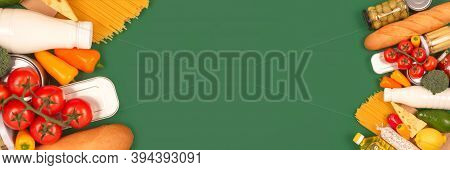 Banner With Different Groceries, Food Donations On Green Background With Copyspace - Pasta, Fresh Ve
