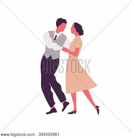 Romantic Pair Holding Hands And Dancing Lindy Hop. Man And Woman Dressed In Retro Clothes Performing