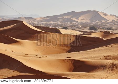 Endless Sands Of The Sahara Desert. Beautiful Sunset Over Sand Dunes Of Sahara Desert Morocco Africa
