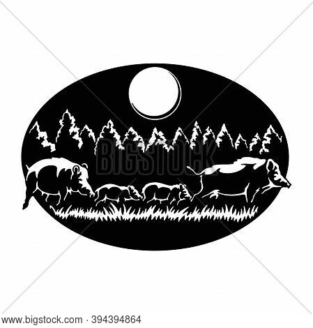 Boars Family - Wildlife, Wildlife Stencils - Forest Silhouettes For Cricut, Wildlife Clipart, Png Cu