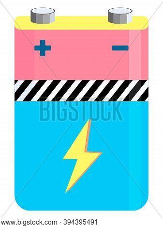 Battery Electricity Accumulator Alkaline Power Energy Element. Cartoon Style.
