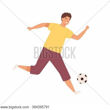 Young Happy Man Playing Football. Male Soccer Player Kick The Ball. Footballer Enjoy Game. Flat Vect