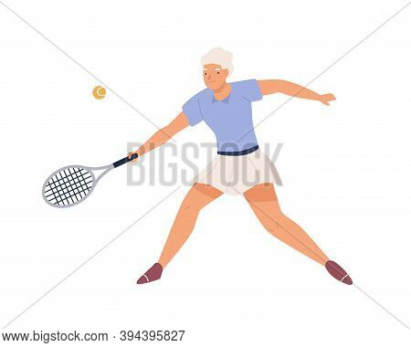 Elderly Female Tennis Player In Sportswear With Racket. Active Senior Woman Playing Sports Game. Fla