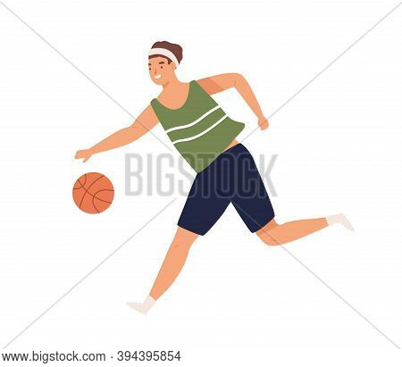 Female Or Male Basketball Player Running With Ball. Portrait Of Young Athletic Man Or Woman Playing