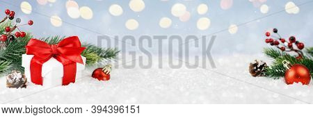 Wide Panorama Banner Design Image With Festive Christmas Decoration Ornaments In Winter Landscape Wi