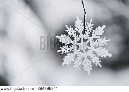 Winter Season. Winter Holidays Time. White Decorative Snowflake On A Snowy Forest Blurred Background