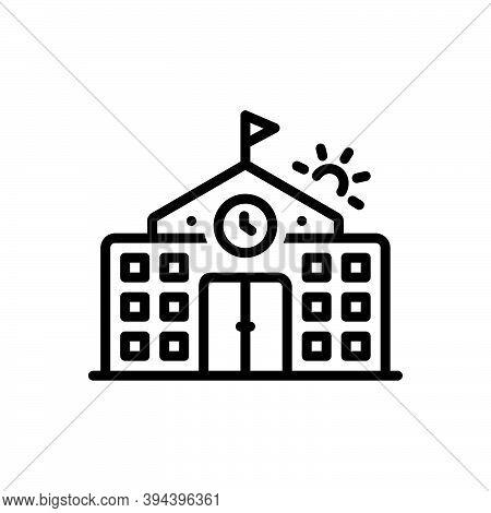 Black Line Icon For Primary Flag-trendy College Highschool School Building University Institute Acad