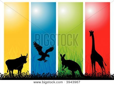 Wild Animals Strips. Vector Illustration for any artwork. poster