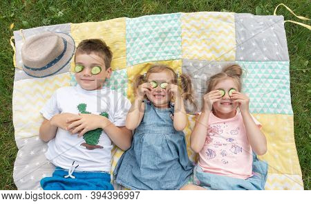 Unschooling Concept. Brother And Sisters Are Good Friends Together. Funny Kids Spend Time At Family