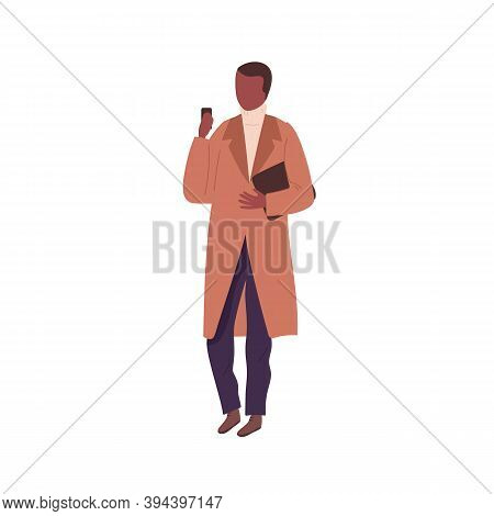 Stylish Black Skin Man Wearing Casual Coat And Looking At Cell Phone. Male Faceless Character In Aut