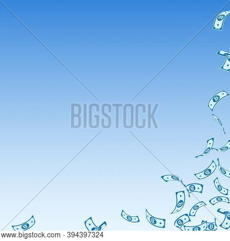Bitcoin, Internet Currency Notes Falling. Sparse Btc Bills On Blue Sky Background. Cryptocurrency, D