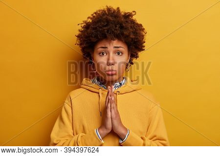 Let Me Please. Sad Pleading African American Woman Asks For Permission, Holds Hands In Pray, Says Fo