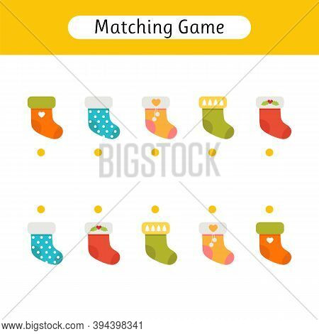 Matching Game For Kids. Worksheet With Socks. Find The Correct Pair. Kids Activity For Preschool Age