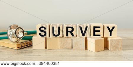 Survey Sign Made Of Blocks On A White Background