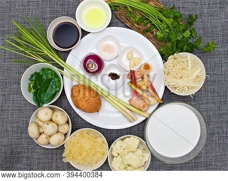 Top View, Ingredients For Traditional Thai Soup Tom Kha And Tom Yam Spiced With Coconut Milk, Asian