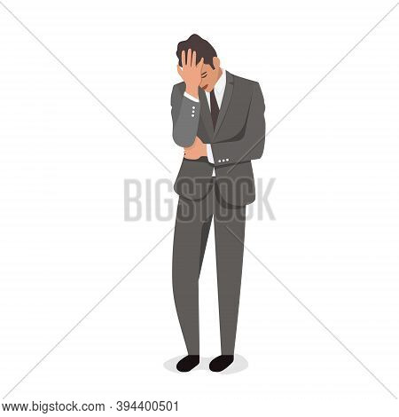 Man Holding His Head With One Hand, Frustrated Hopeless Tired Guy, Negative Emotions