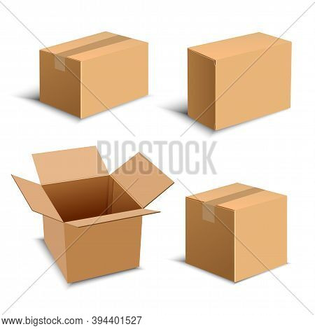 Set Of Four Realistic Brown Package Box. Design Elements For Online Delivery Layout. Vector