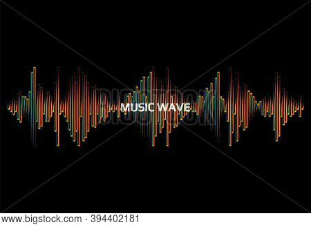 Music Wave Logo. Vector Rainbow Pulse Player Illustration. Colorful Digital Equalizer Signal On A Bl