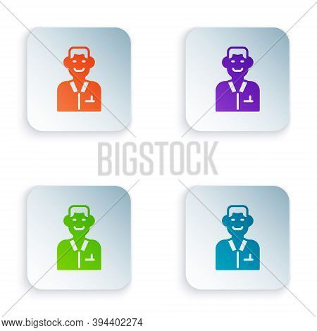 Color Trader Icon Isolated On White Background. Businessman Trading Stocks. Set Colorful Icons In Sq
