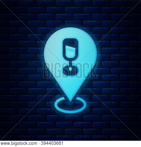 Glowing Neon Alcohol Or Beer Bar Location Icon Isolated On Brick Wall Background. Symbol Of Drinking