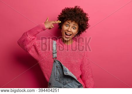 Joyful Curly Afro American Woman Shoots In Temple, Makes Suicide Gesture, Tilts Head, Foolishes Arou