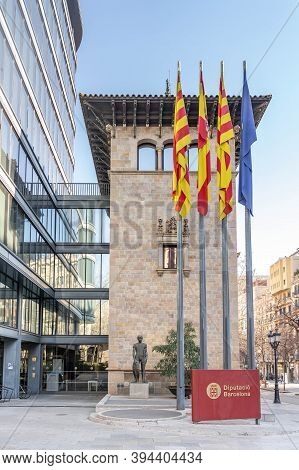 Barcelona, Spain - Feb 23, 2020: Front View Of Barcelona Provincial Council