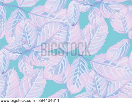 Rose Leaves Seamless Pattern. Aqua Menthe And Green Repeated Spring Peony Wallpaper. Painted English