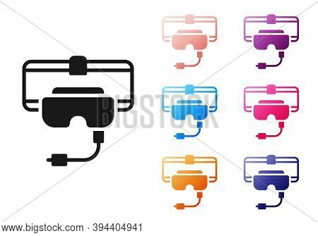 Black Virtual Reality Glasses Icon Isolated On White Background. Stereoscopic 3d Vr Mask. Set Icons