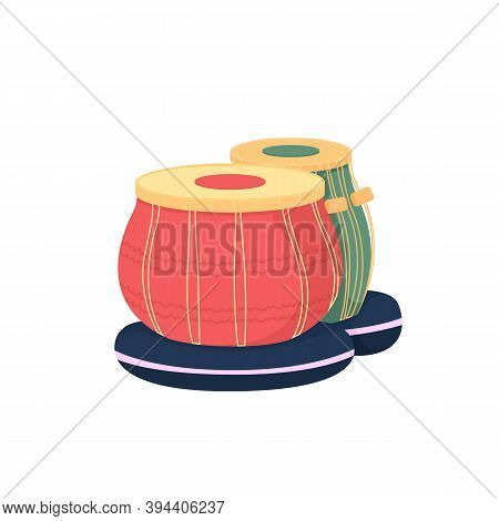 Tabla Drums Flat Color Vector Object. Classical Eastern Music Performance. Ethnic Concert. Tradition