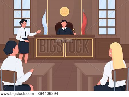 Attorney In Legal Court Flat Color Vector Illustration. Judgement Procedure. Lawsuit Hearing. Judge,