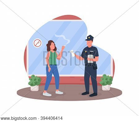 Penalty For Smoking 2d Vector Web Banner, Poster. Police Officer With Woman Smoker Flat Characters O