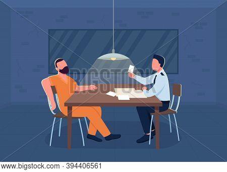 Police Interrogation Flat Color Vector Illustration. Room For Investigation. Cop Interrogate Suspect