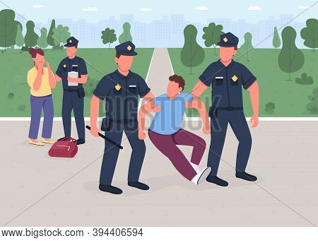 Robber Arrest Flat Color Vector Illustration. Policeman Caught Burglar. Woman Victim. Legal Protecti