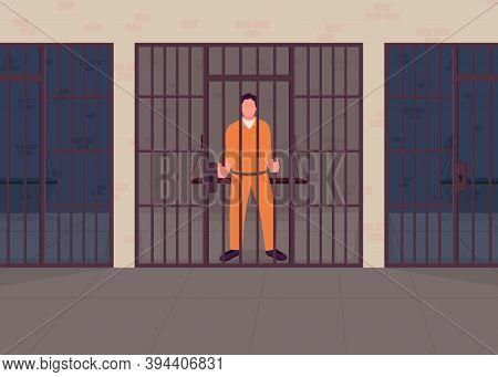 Criminal In Prison Flat Color Vector Illustration. Arrested Convict Behind Bars. Justice Punishment