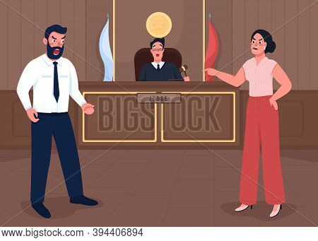 Law Court Session Flat Color Vector Illustration. Lawsuit Verdict. Lawyer Investigate Crime. Officia