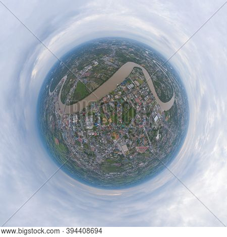 Little Planet 360 Degree Sphere. Panorama Of Aerial View Of Buildings With Curve Of Chao Phraya Rive
