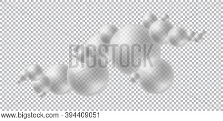 Group Of Transparent Matte Spheres. Modern Design Template With 3d Round Shapes. Vector Abstract Bac