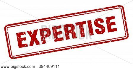 Expertise Stamp. Square Grunge Sign On White Background