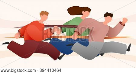 Group Of Colorful Runners People Isolated Background. Cartoon Jogging Male And Female In Motion Vect