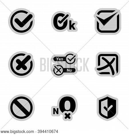 Icons For Theme Yes, Confirmed, No, Denied, Vector, Set. White Background