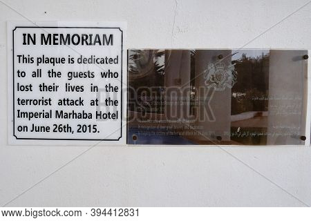 A Memorial Inscription On The Wall Of The Imperial Marhaba Hotel Where The Terrorist Attack Took Pla