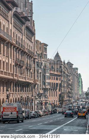 Barcelona, Spain - Feb 24, 2020: Street View Of Via Laietana Near Plaza Catalunya