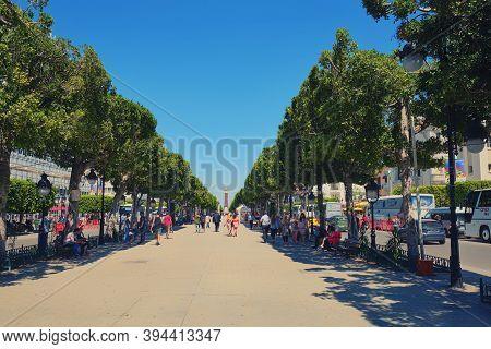 Habib Bourguiba Avenue Is The Main Street Of Tunis. Avenue Called