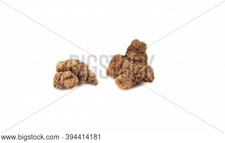 Two Pieces Of Galangal Root Isolated On White Background.