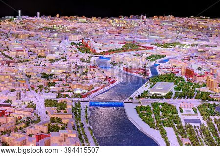 Layout Of Moscow. The City Center - The Kremlin, The Central House Of Artists (cha) And The Plant Re