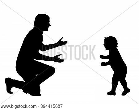 Silhouette Little Baby Walking To Meet His Father. Illustration Graphics Icon Vector