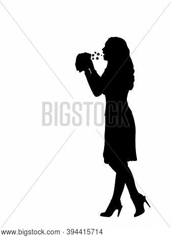 Silhouette Of Sick Woman Spreading Virus. Illustration Graphics Icon Vector
