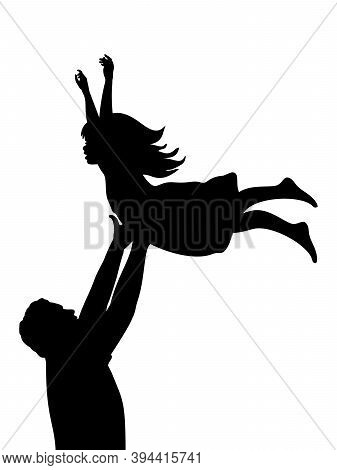 Silhouette Father Tossing Up Baby Girl. Illustration Graphics Icon Vector