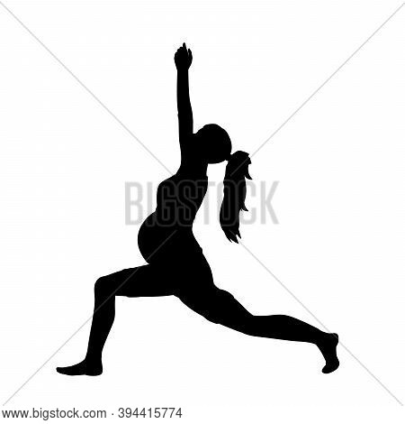 Silhouette Of Pregnant Woman Doing Sports. Illustration Graphics Icon Vector